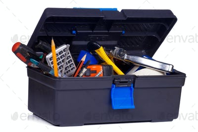 box with tools on white