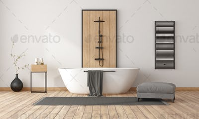 Minimalist bathroom with bathtub and shower