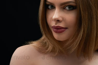 Beauty portrait of a stunning full lipped young woman