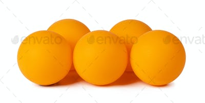 Table tennis balls isolated on white background