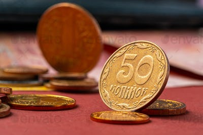 Ukrainian money. Denomination of new and withdrawal of old coins and banknotes concept