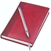 leather note book with old blue pen
