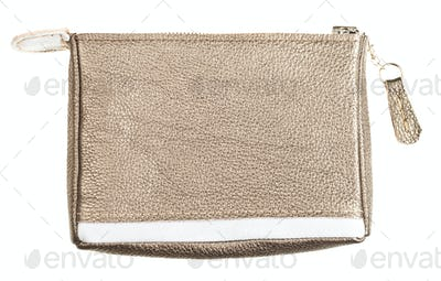 gold brown soft leather vanity bag