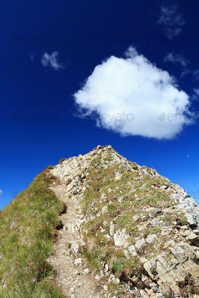 pathway on mountain peak