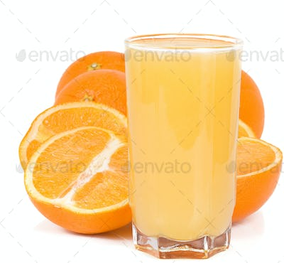orange and juice isolated on white