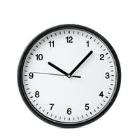 Big beautiful office clock isolated on white background