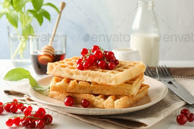 Beautiful composition with sweet belgian waffles, space for text