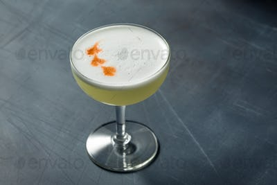 Refreshing Cold Pisco Sour Cocktail