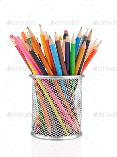 colorful pencils in holder isolated on white