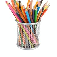 holder basket full of pencils isolated on white
