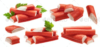 Crab sticks isolated on white background with clipping path