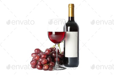 Grapes, bottle and glass with wine isolated on white background