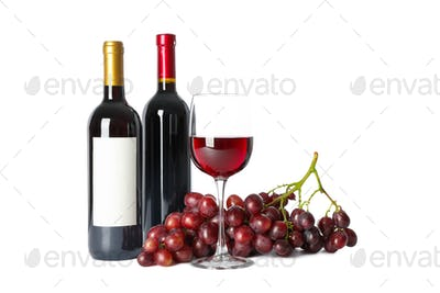 Grapes, bottles and glass with wine isolated on white background