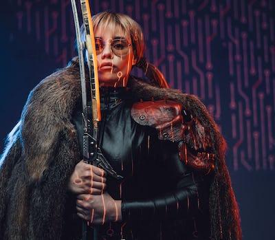 Cyberpunk girl with fur and glowing sword
