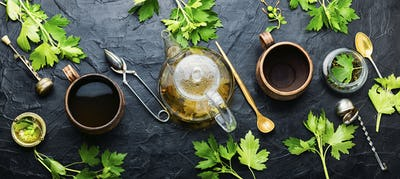 Healing tea with currant leaves,top view