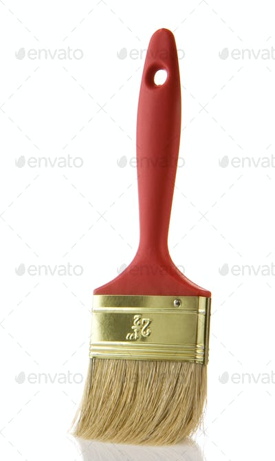 red paintbrush isolated on white