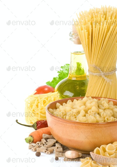 raw pasta and healthy food