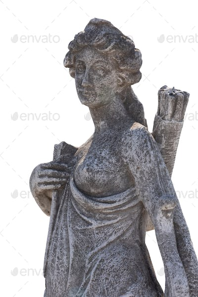 Stone sculpture of female hunter with archer's bag on white background