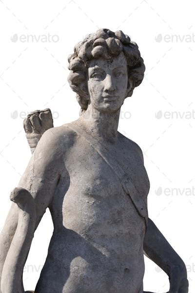 Stone sculpture of male hunter with archer's bag on white background