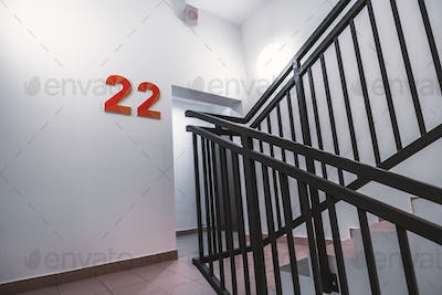 Office stairway, exit to the floor