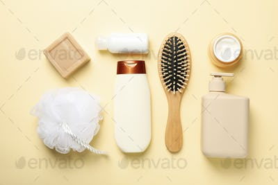 Flat lay with hygiene concept on beige background, top view