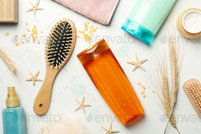Hygiene composition with shampoo bottles on white background