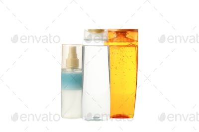 Blank bottles for cosmetics isolated on white background