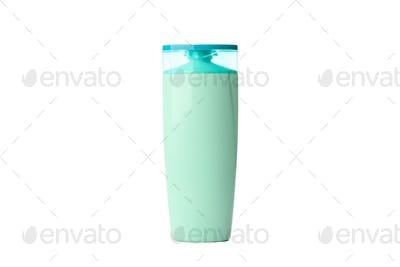 Blank plastic shampoo or lotion bottle isolated on white background