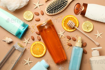 Hygiene composition with shampoo bottles on craft background