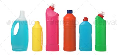 Set of bottles with detergent isolated on white background