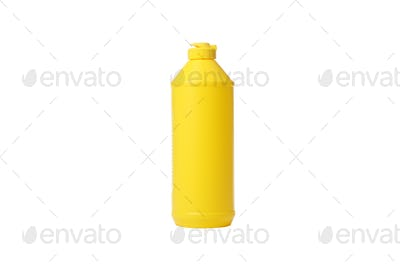 Yellow bottle with detergent liquid isolated on white background
