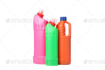 Group of bottles with detergent isolated on white background