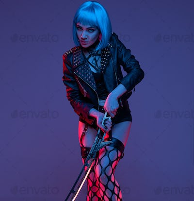Aggressive woman fighter in cyberpunk style with sword