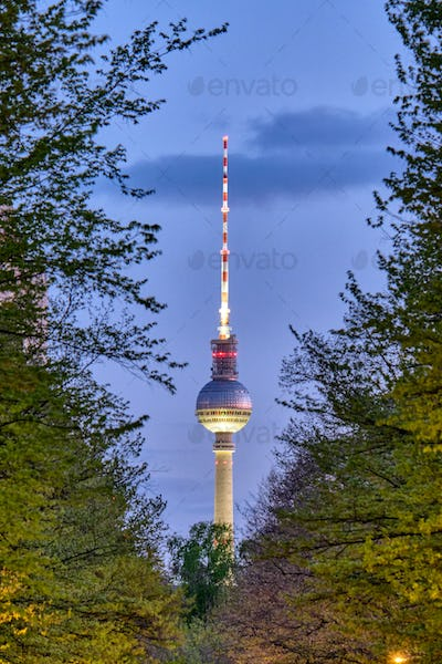 The famous TV Tower in Berlin at night