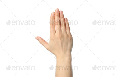 Woman hand isolated on white background. Gestures