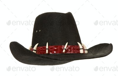 black cowboy hat isolated on white