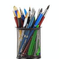 pens in holder basket on white