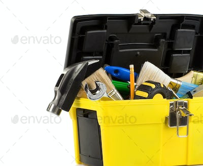 kit of tools in box isolated on white