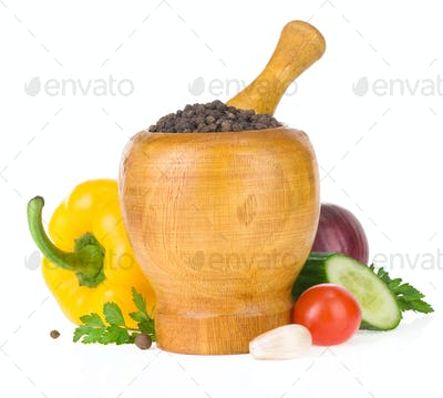 food vegetable ingredients and mortar with pestle