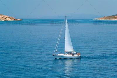 Yacht boat in Aegean sea near Milos island , Greece