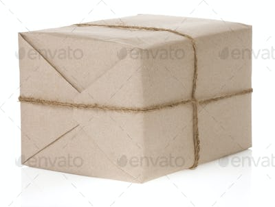 parcel wrapped isolated on white