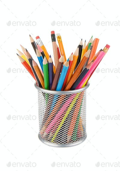 pencils and basket holder isolated on white