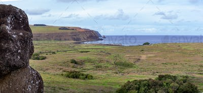 Easter Island Landscape. View frot seated moai to Tongariki