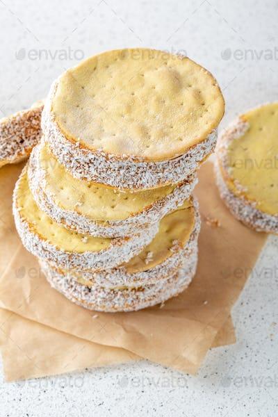 Alfajore cookies filled with caramel. Latin American dessert