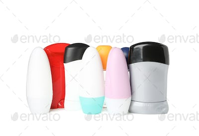 Group of body deodorants isolated on white background