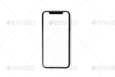 Phone with empty screen isolated on white background