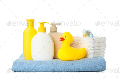 Baby hygiene accessories isolated on white background