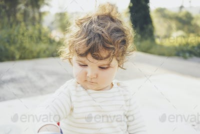 Natural portrait of a one year cute baby