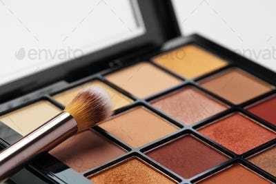 Make-up palette and brushes. Professional eyeshadow palette.