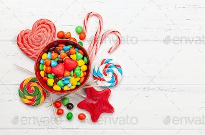 Various sweets assortment. Candy, bonbon, jelly